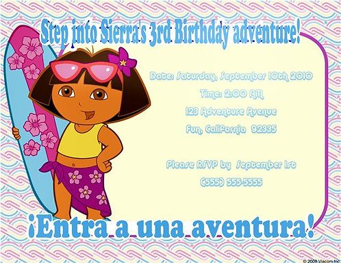 Dora Surfer Birthday Party Invitation