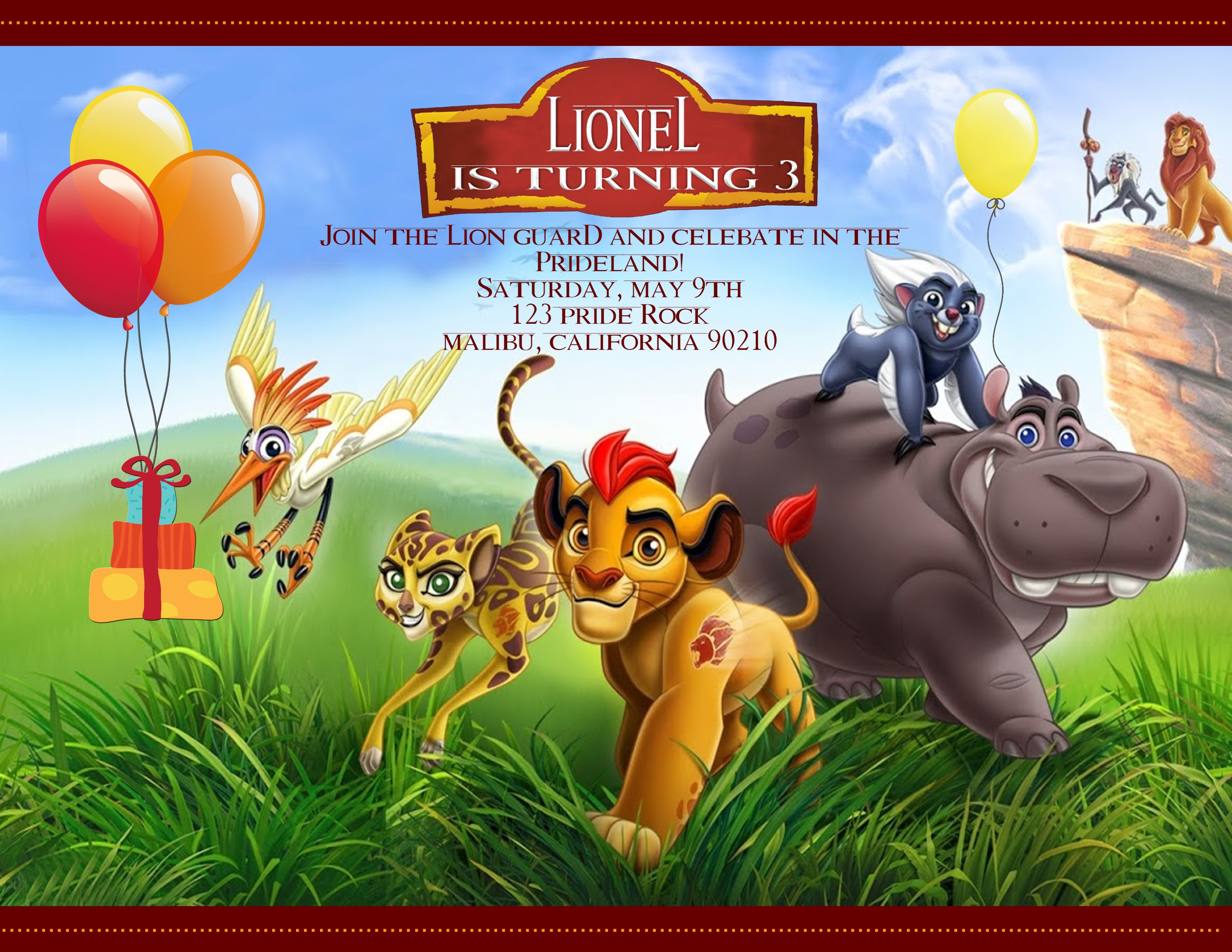 The Lion Guard Birthday Invitation Sold In Sets Of 10