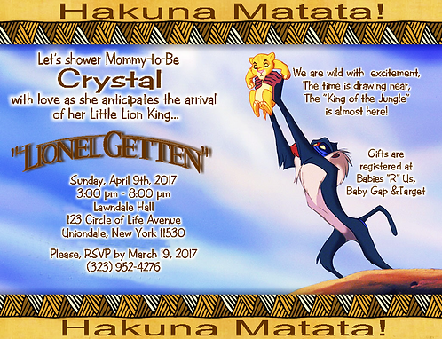 #8 Lion King Baby Shower Invitations