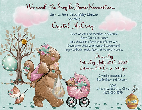 Bear-Necessities Drive-By Baby Girl Shower Invitations (sets of 10)