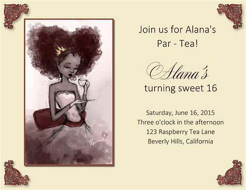Sweet 16 Tea Party Invitation
