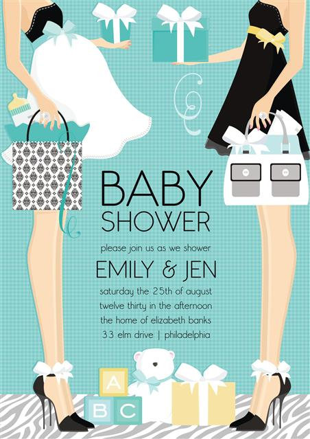 Blue Emily and Jen Couple Baby Shower Invitation