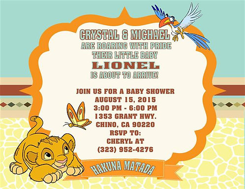 Lion King Butterfly Baby Shower Invitations (sold in sets of 10)