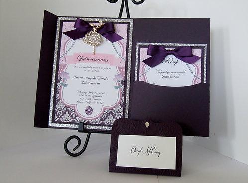 Luxurious Rhinestone Lady Eggplant Pocketfold Invitation