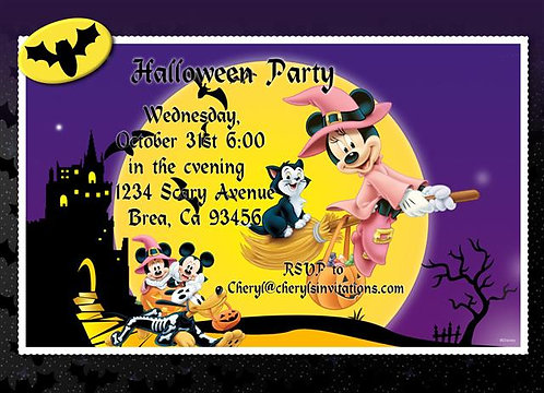 Mickey and Minnie Costume Halloween Party and  Event Invitat