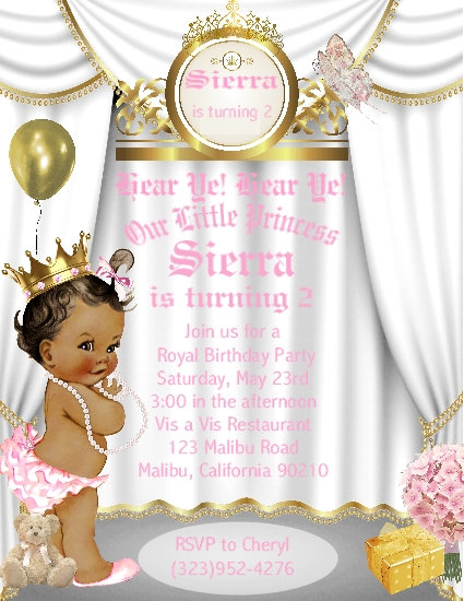 Little Princess African American Birthday Party Invitation