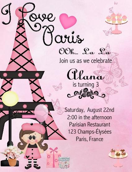 I Love  Paris Kid Birthday Party Invitation
