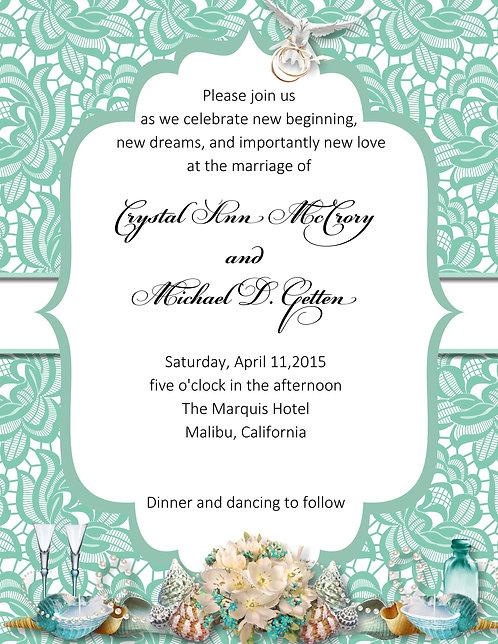 Seaside Tiffany Lace Wedding / Event Invitation