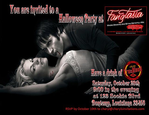 True Blood Costume Halloween Party and  Event Invitat