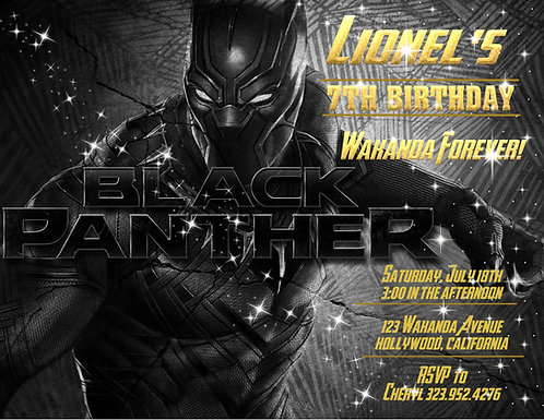 Black Panther Forever Birthday Party Invitation