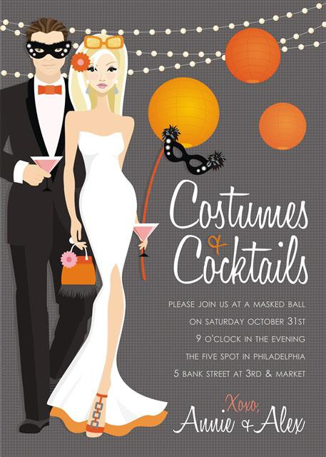 Blonde Couple's Costume Halloween Party and  Event Invitat
