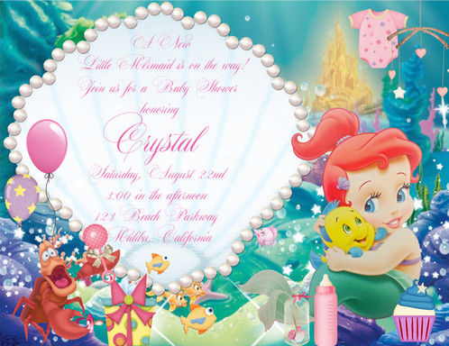 Little mermaid baby shower invitation filmwisefo