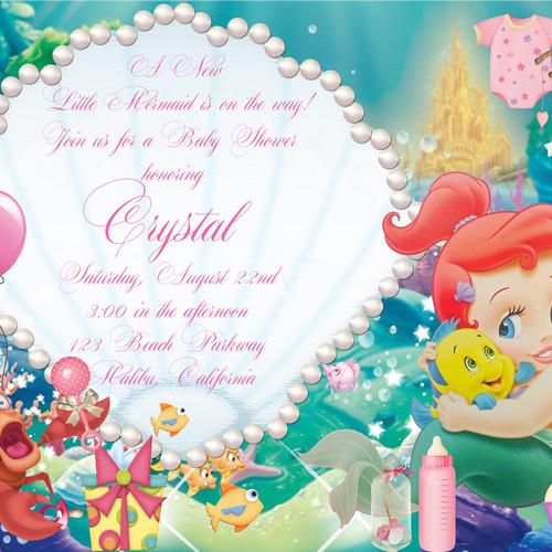 Little Mermaid Baby Shower Invitations Gallery Invitation