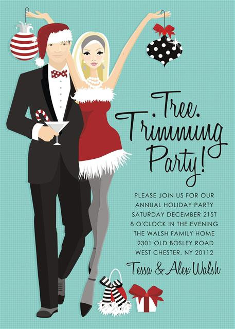 Blonde Tree Trimming Holiday Party and  Event Invitation