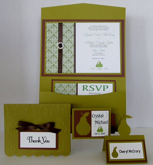 Perfect Pear Damask Pocketfold Wedding Invitation
