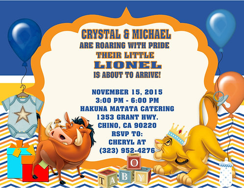 Lion King Shower Gifts Baby Shower Invitations (sold in sets of 10)