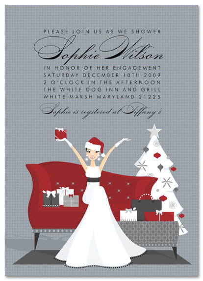 Holiday Bride to Be Bridal Shower and  Event Invitation