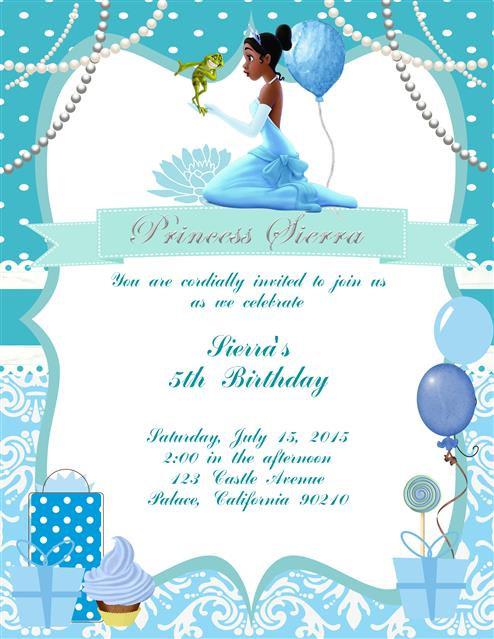 Little Princess Tiana Birthday Party Invitation
