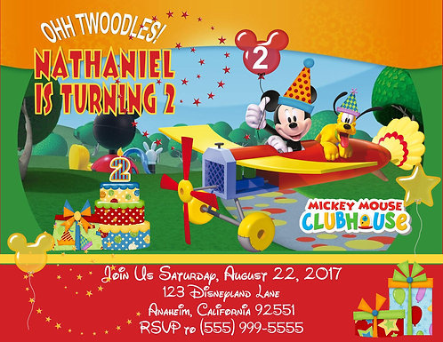 Mickey Mouse Clubhouse Plane Birthday Party Invitation