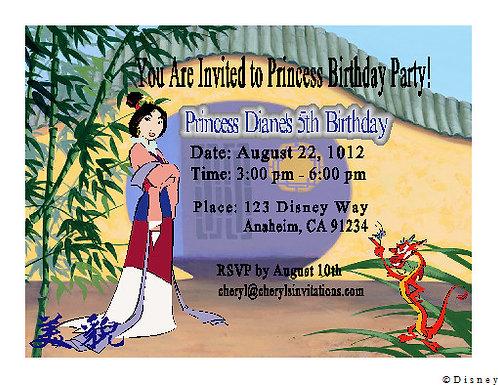 Princess Mulan Birthday Party Keepsake Bottle Invitation