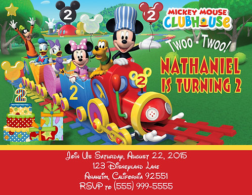Mickey Mouse Clubhouse Train Birthday Party Invitation