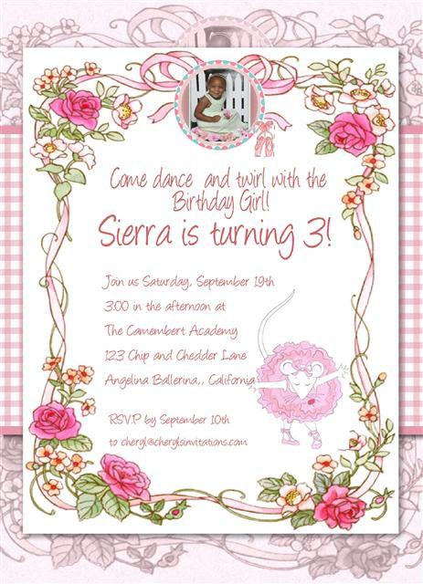 #2 Angelina Ballerina Birthday Party Invitation