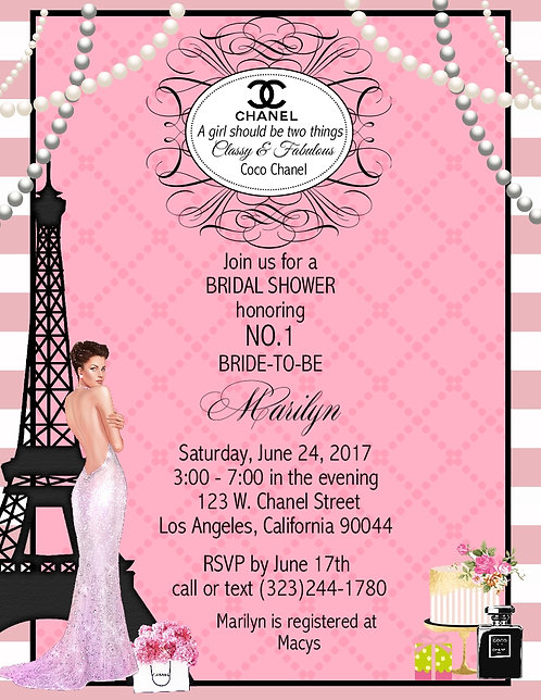 Paris Chanel Bridal Shower Party and  Event Invitation