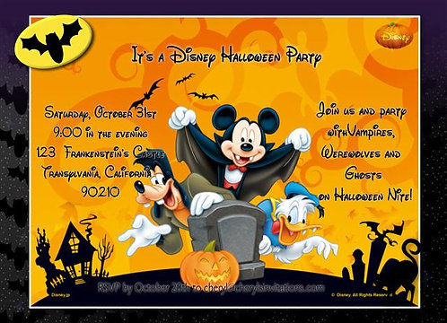 Mickey Mouse Costume Halloween Party and  Event Invitat