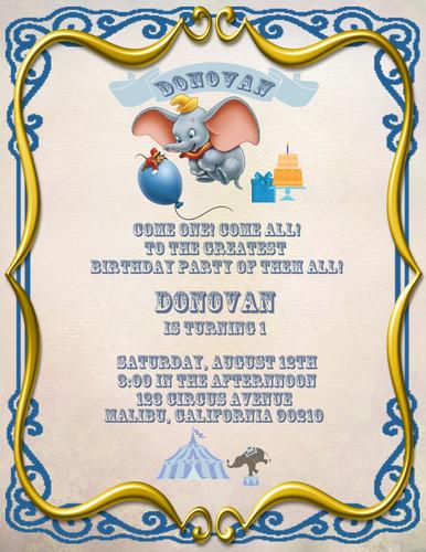 Dumbo Birthday Party Invitation