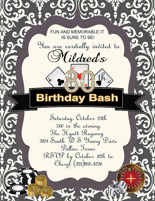 Casino Birthday Bash Party and  Event Invitation
