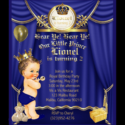Childrens birthday parties eventsunique invitations by cheryl little prince brunette birthday invitation filmwisefo