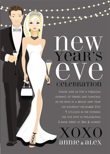 Blonde New Year's Lights Holiday Party and  Event Invitation