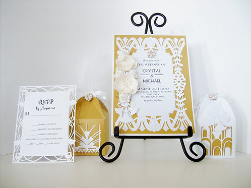 Elegant White Art Deco Wedding / Quinceañera  Invitation