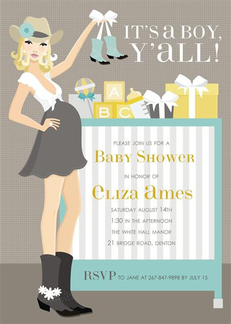 It's a Boy Y'all Baby Shower Invitation