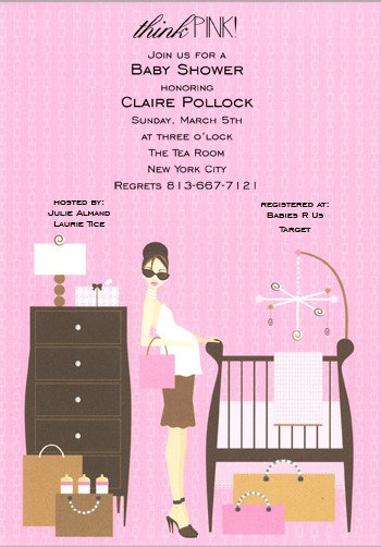 Think Pink Crib Baby Shower Invitations