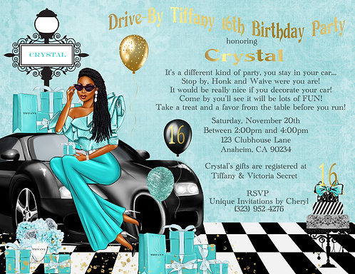 African American Sweet 16 Tiffany Drive-By Invitation (sold in sets of 10)