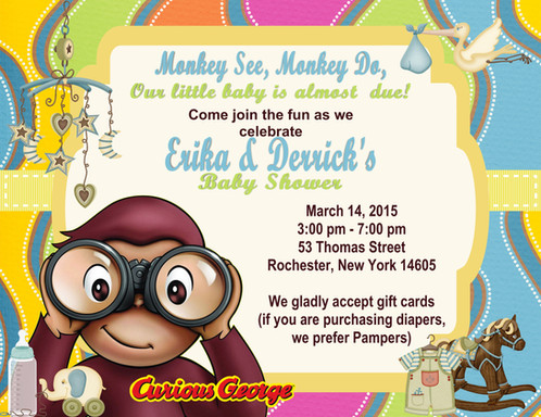 Curious george baby shower invitation filmwisefo