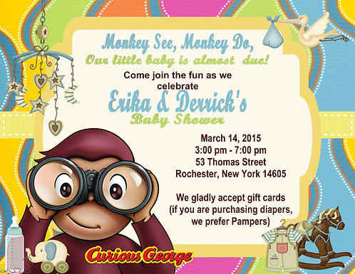 Curious George Baby Shower Invitation
