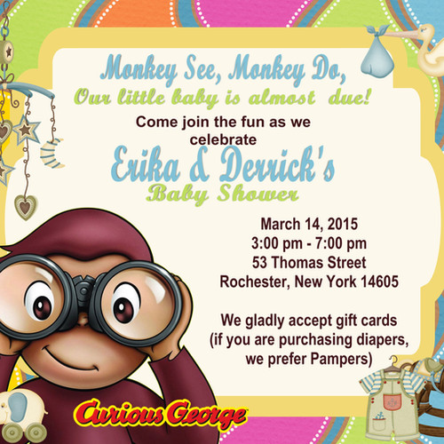 Curious george baby shower invitations image collections gender neutral baby shower invitation unique invitatione by cheryl curious george baby shower invitation filmwisefo filmwisefo