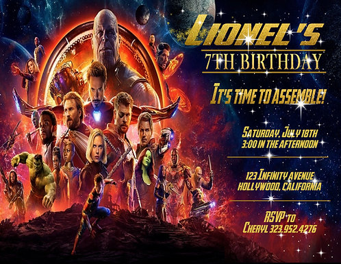 Infinity Wars Birthday Party and  Event Invitation (sold in sets of 10)