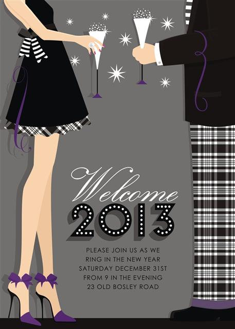 New Year's Celebration Holiday Party and  Event Invitation