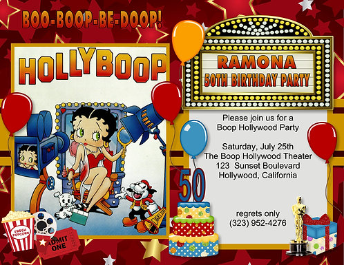 Betty Boop HollyBoop Birthday Party and  Event Invitation