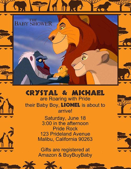 Lion King Pridelands Baby Shower Invitation  (sold in sets of 10)