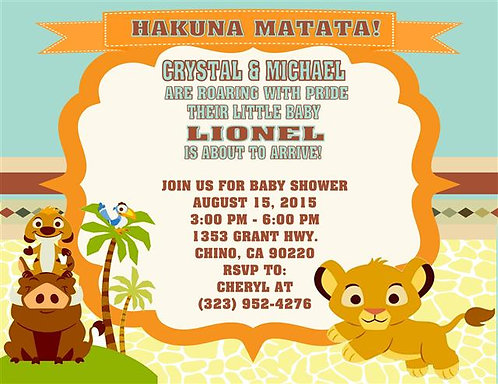 Lion King Hakuna Matata Baby Shower Invitations (sold in sets of 10)
