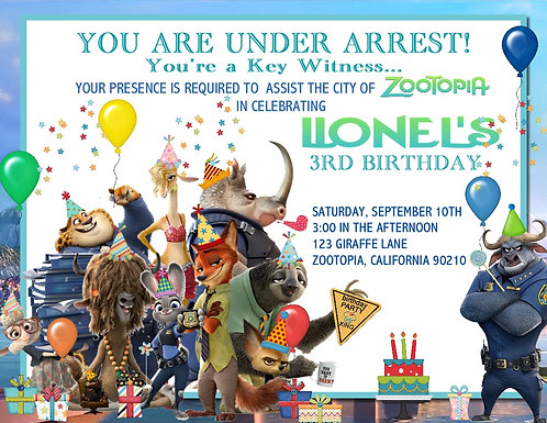 Zootopia Birthday Party Invitation