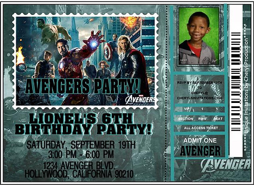 Avengers Ticket Birthday Party Invitation