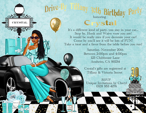 African American Tiffany Drive-By Invitation (sold in sets of 10)