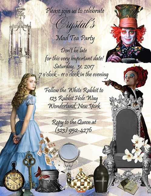 Alice in Wonderland with Tim Burton Party and  Event Invitation