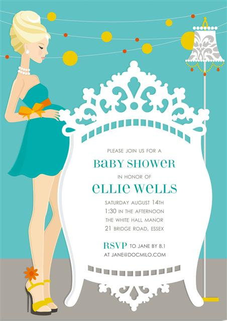 Blonde Elegant Blue Crib Baby Shower Invitation