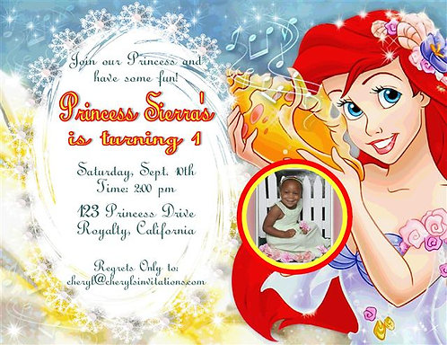 #3 Little Mermaid Birthday Party Invitation